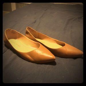 Cognac almond toe flats
